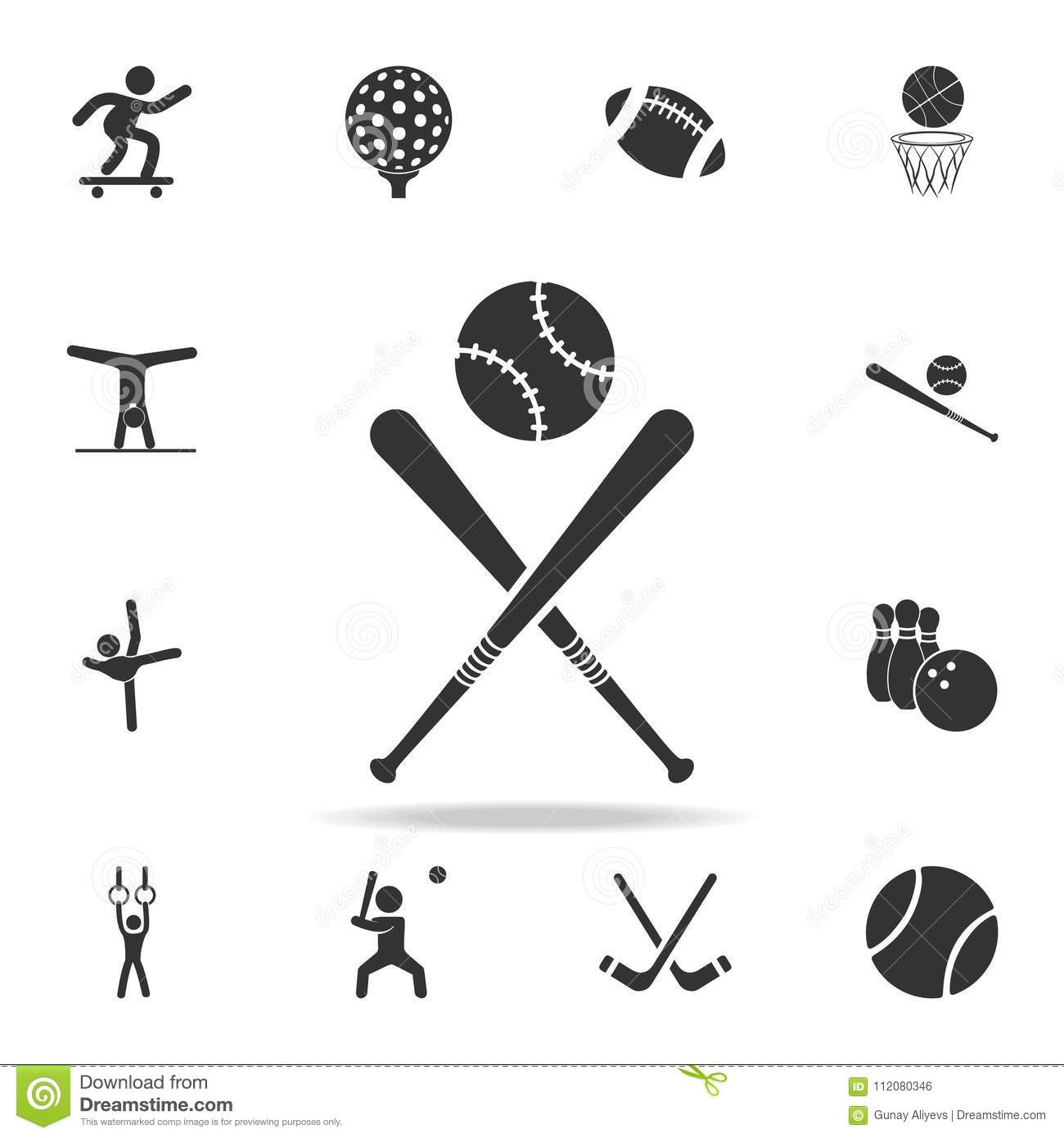 Baseball Bat And Ball Icon Detailed Set Of Athletes And Accessories