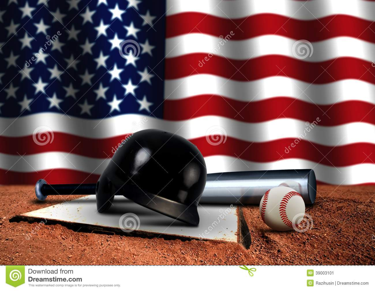 Baseball Bat With Helmet And American Flag Stock Illustration ... 62030dc0e49