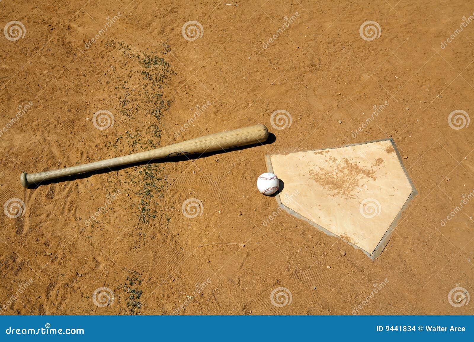 Baseball and Bat on Home Plate