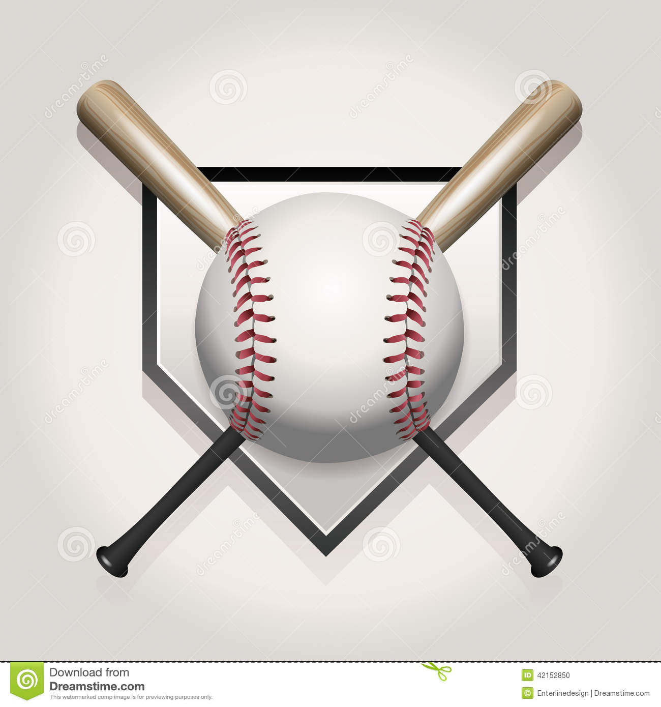 Baseball Or Softball Pennant With Crossed Bats Stock Photography ...