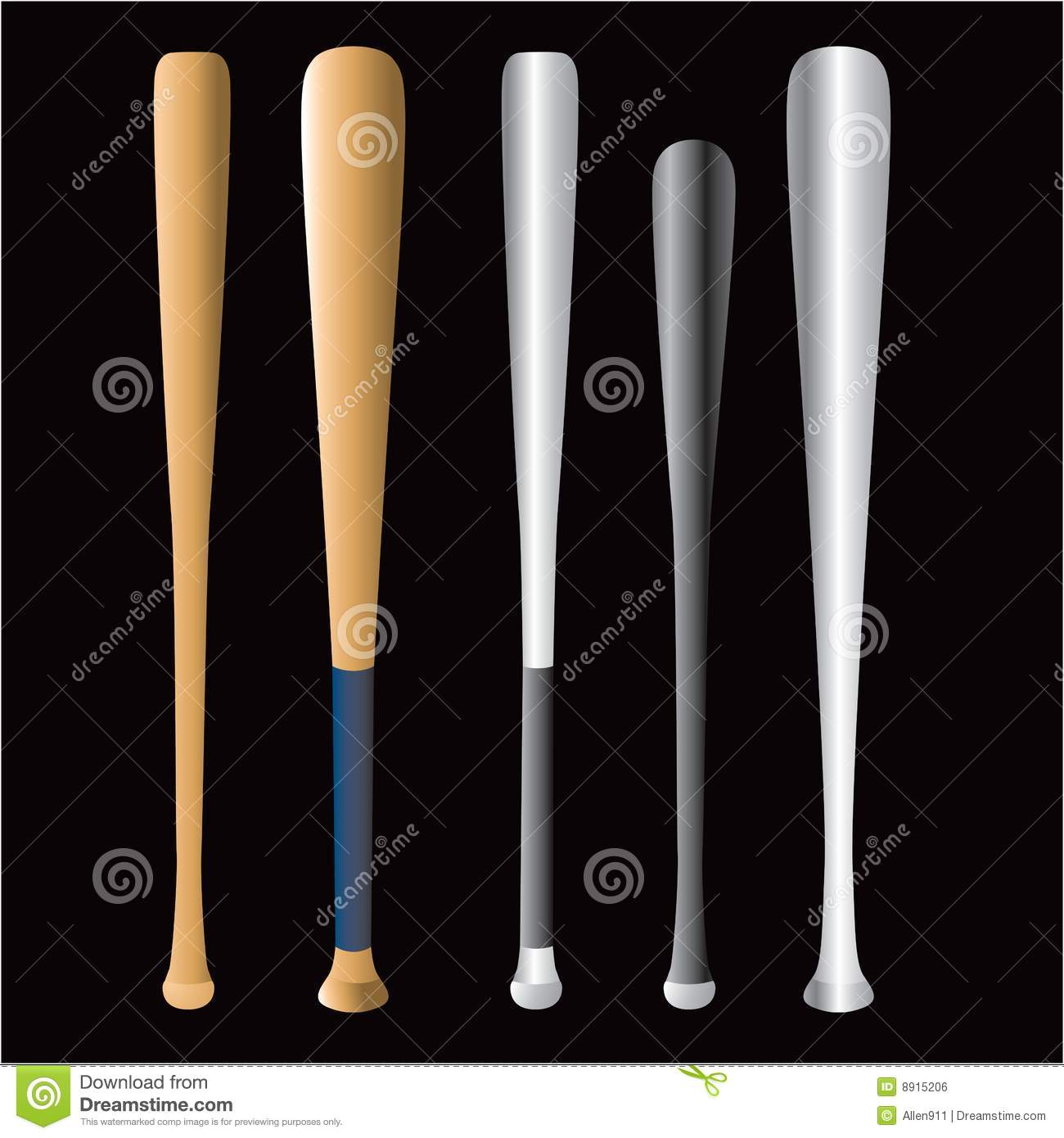 5488f8d9036 Illustration of five different baseball bats isolated on black background.