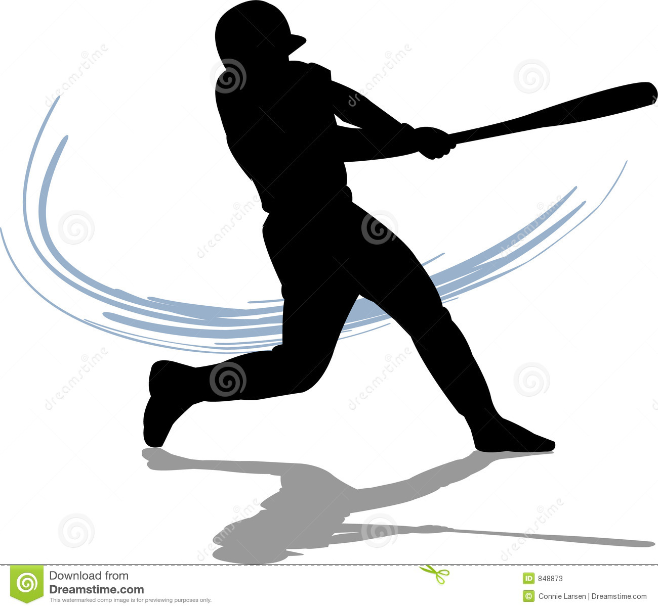 Illustration of a baseball player swinging the bat.