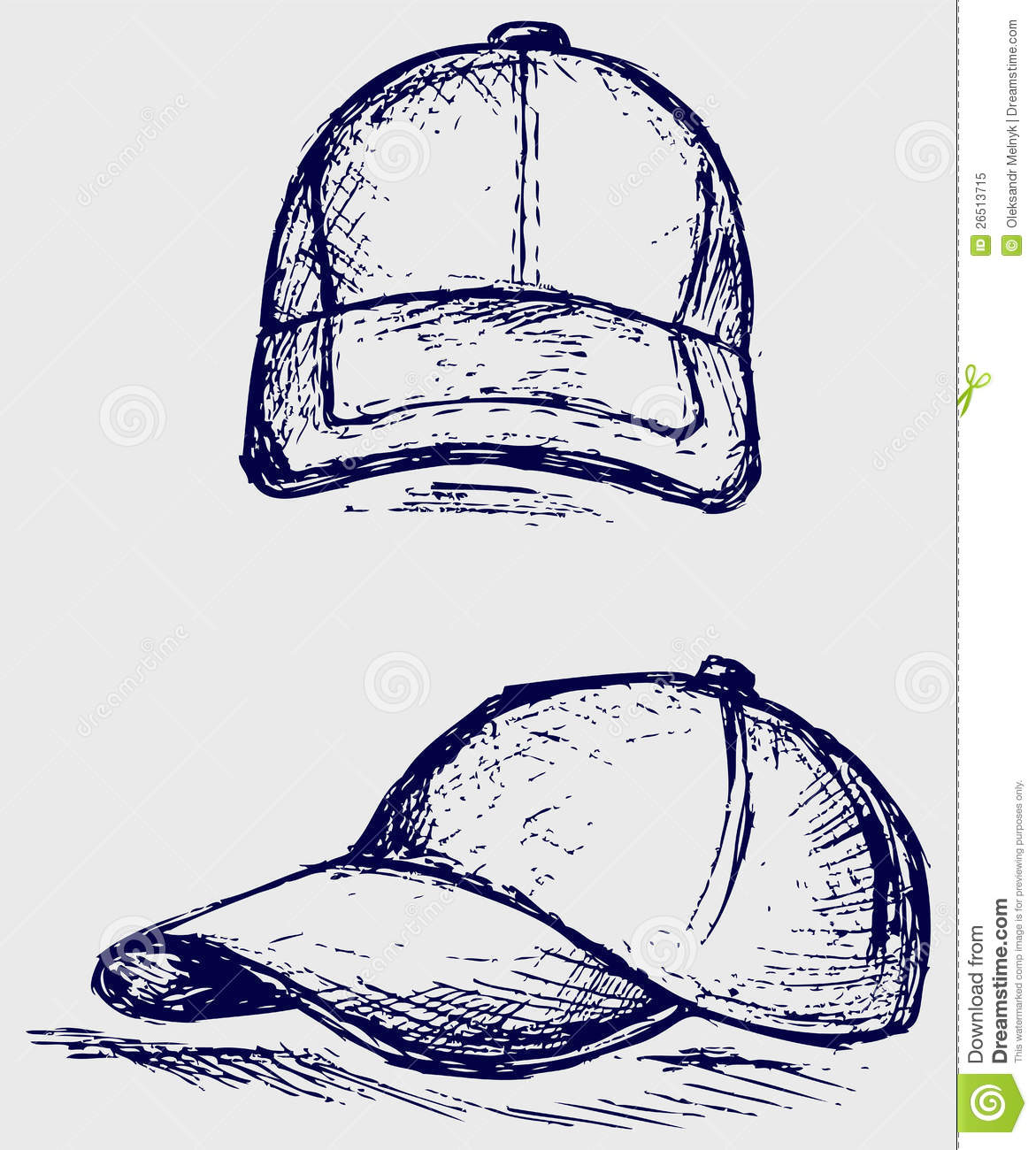 Baseball cap stock vector image of line illustration for How to make doodle art