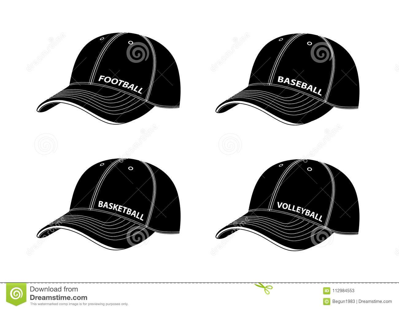 Baseball caps with inscriptions of different sports.Vector illustration on a white background.