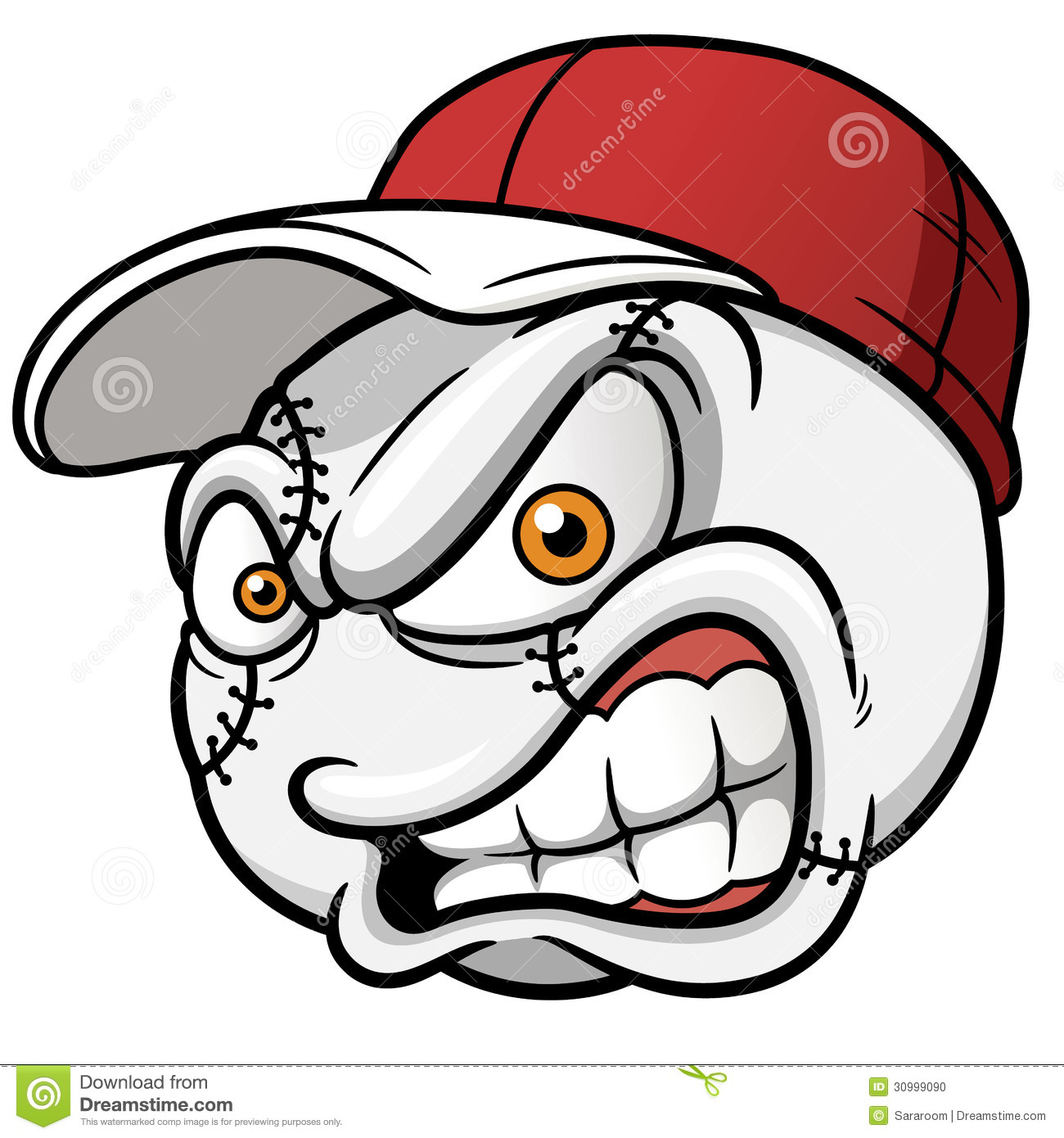 Baseball Cartoon Ball Stock Photo - Image: 30999090