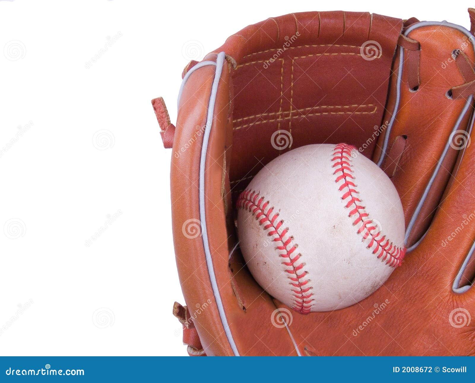 Baseball che è catturato in un guanto di baseball