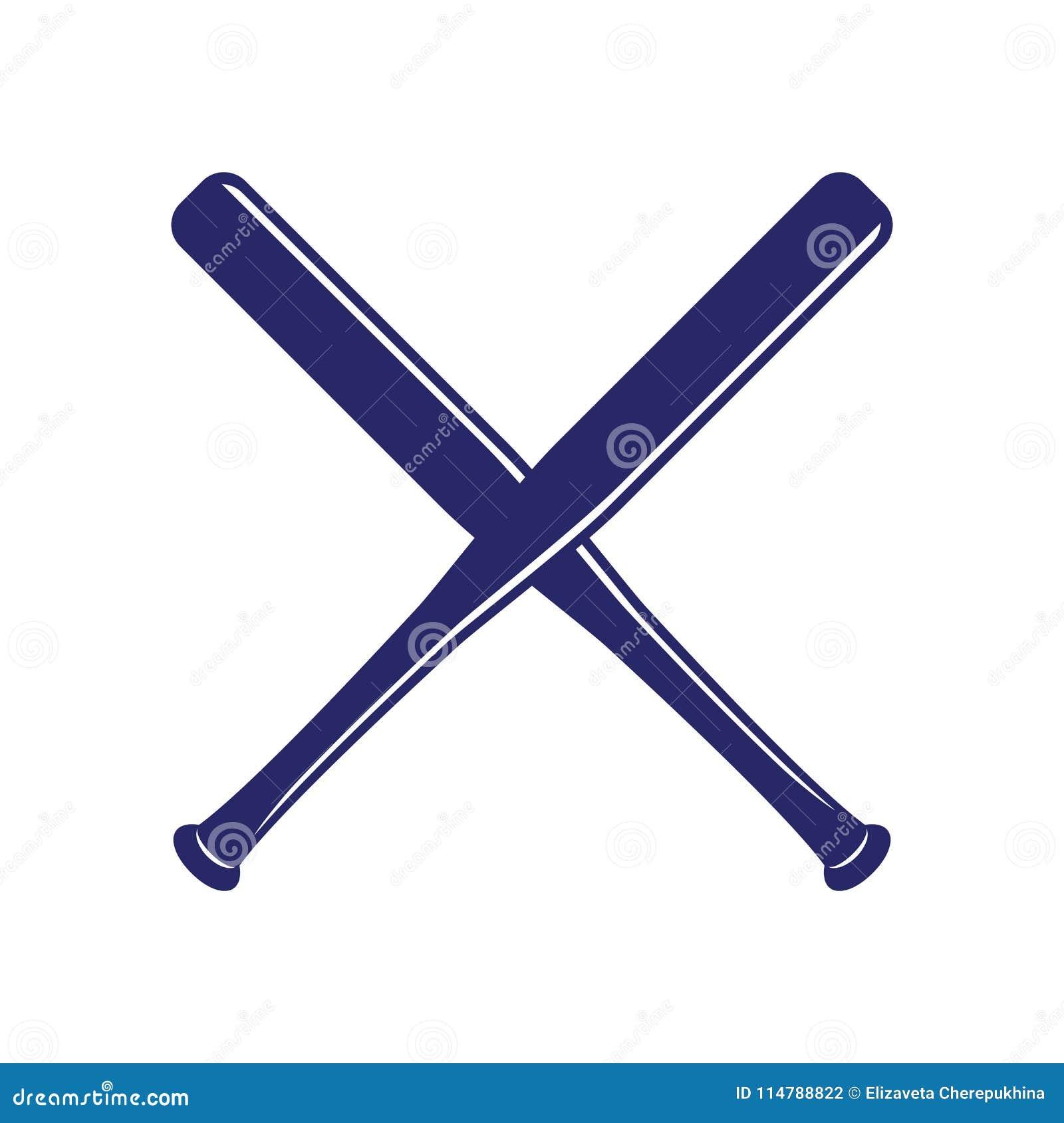 a8f0d564b1c Baseball crossed bats. Criss cross bats. Baseball flat vector illustration