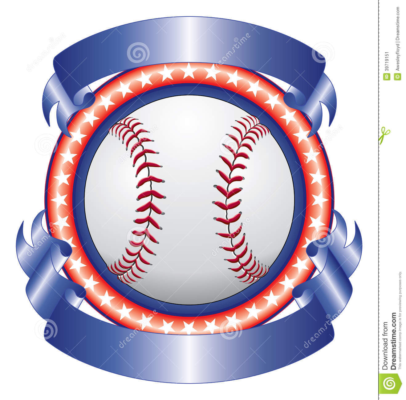 baseball design with ribbons stock vector
