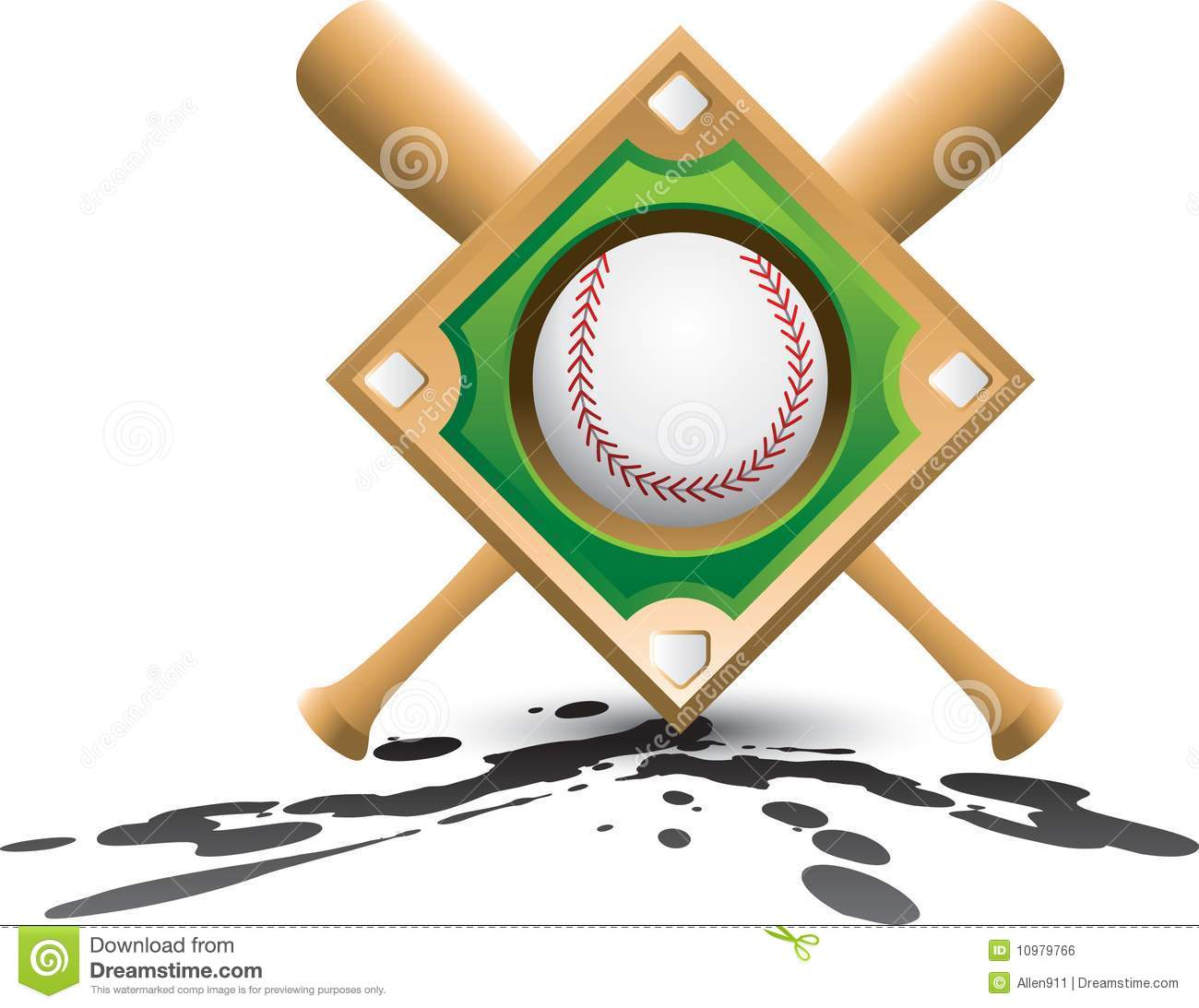 Baseball diamond and crossed baseball bats on splattered ground.