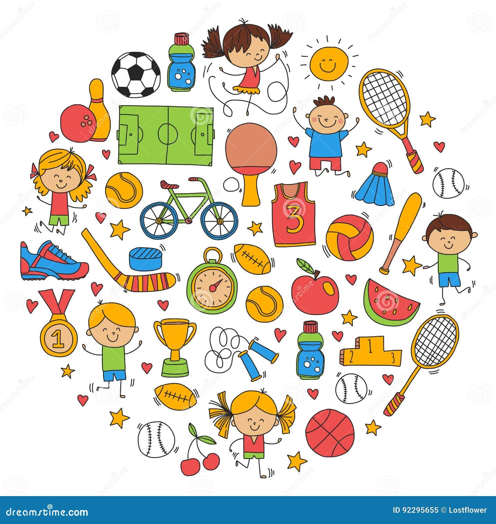 Baseball för utmärkelsen för spring för cykeln för basket för tennis för volleyboll för fotboll för barnsportkondition lurar spor