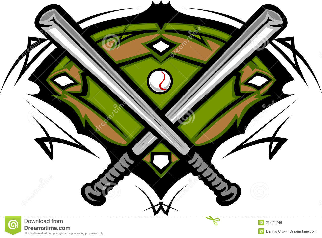 Baseball Field With Softball Bats Template Royalty Free Stock Image ...