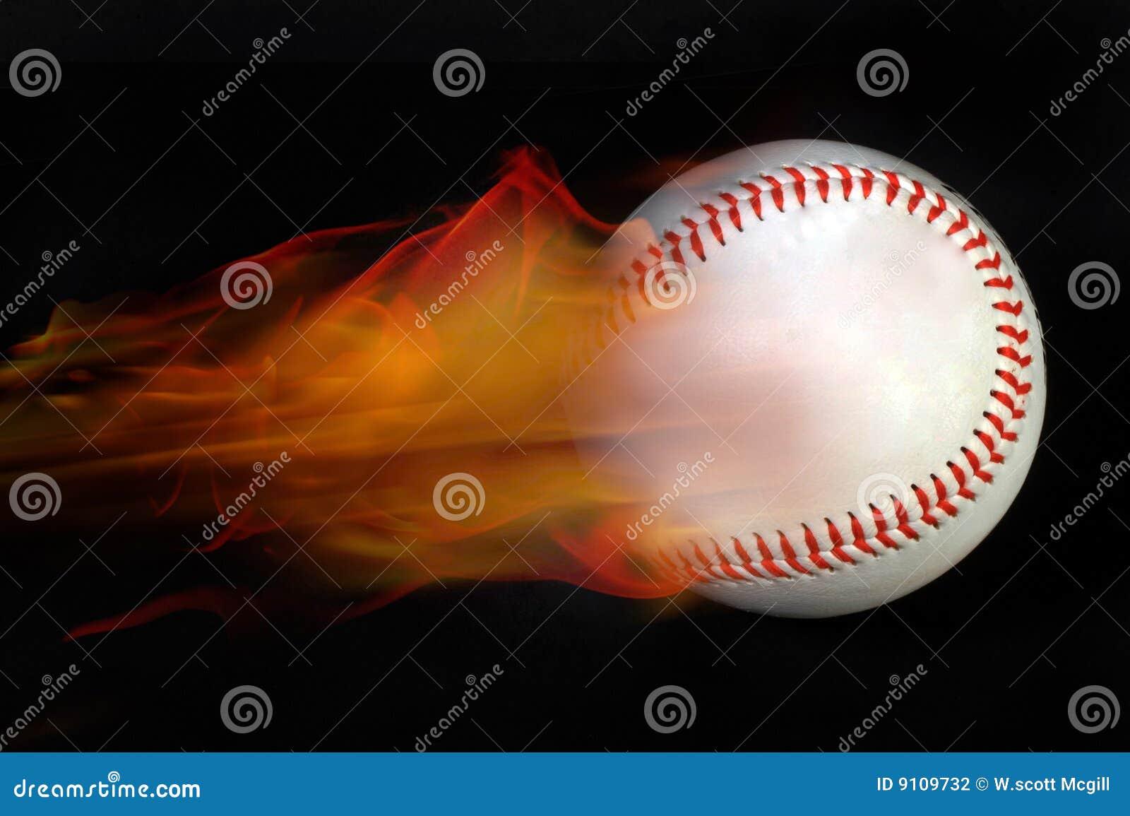 Baseball on fire