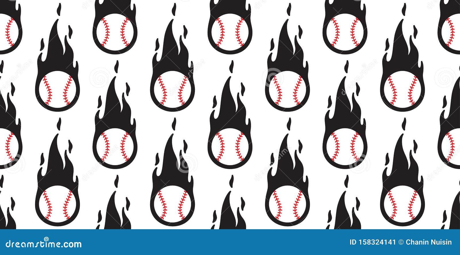 Sport Wallpaper Doodle: Baseball Fire Seamless Pattern Vector Softball Sport