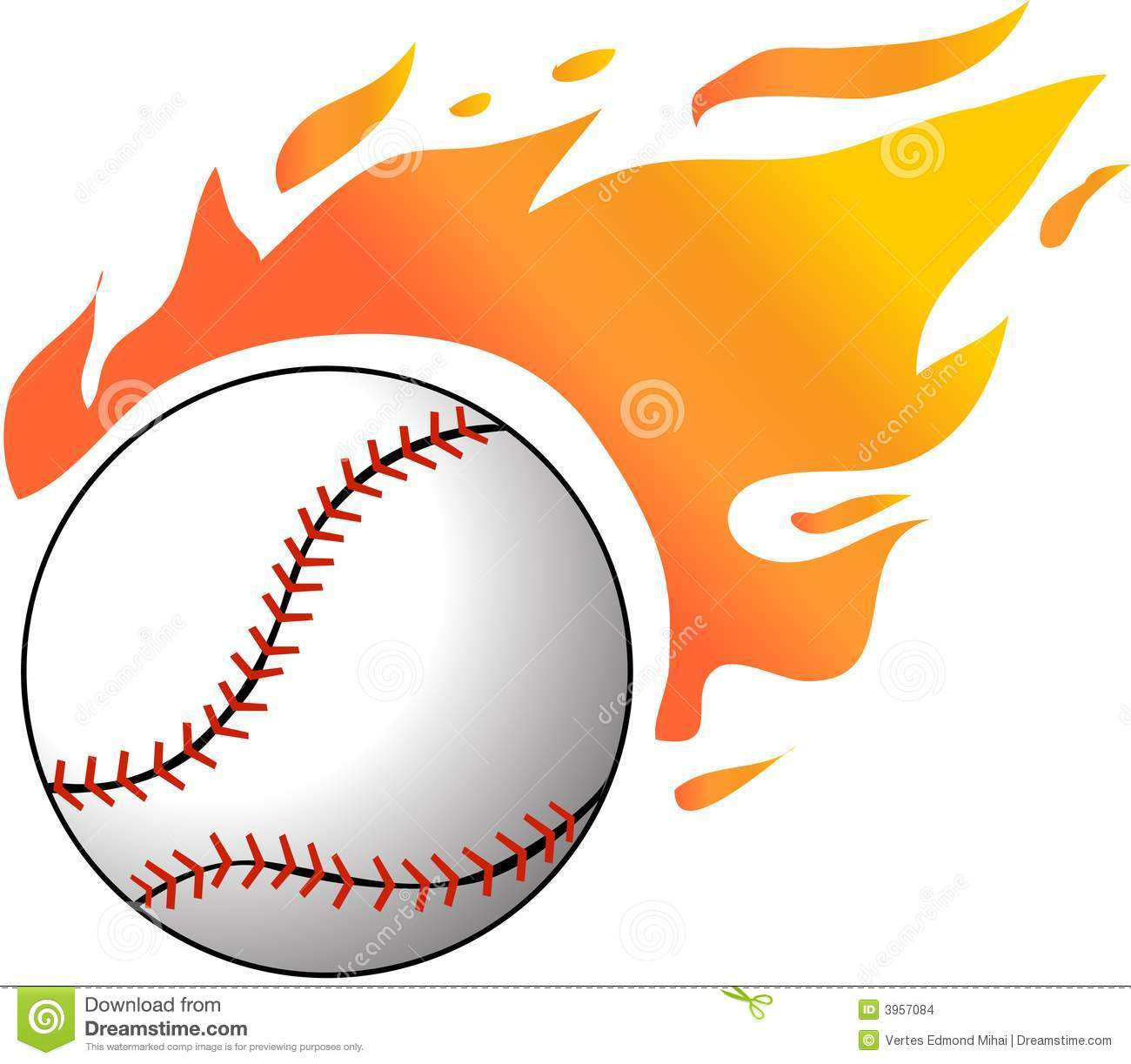 baseball with flames stock images image 3957084
