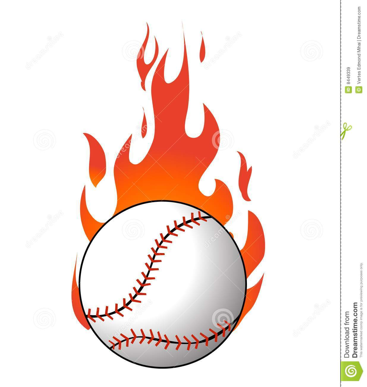 Baseball With Flames Vector Stock Vector Illustration Of