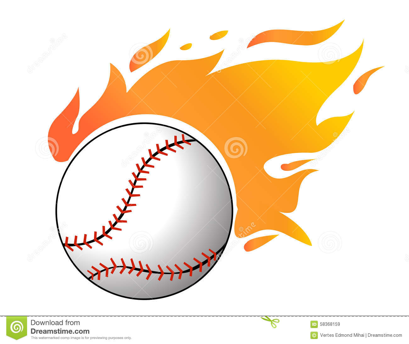 Baseball With Flames Vector Stock Vector Image 58368159