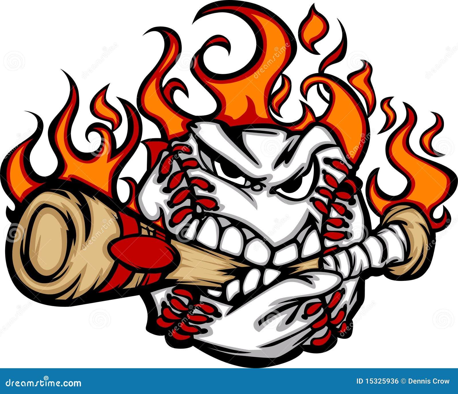 Baseball Flaming Face Biting Bat Vector Image