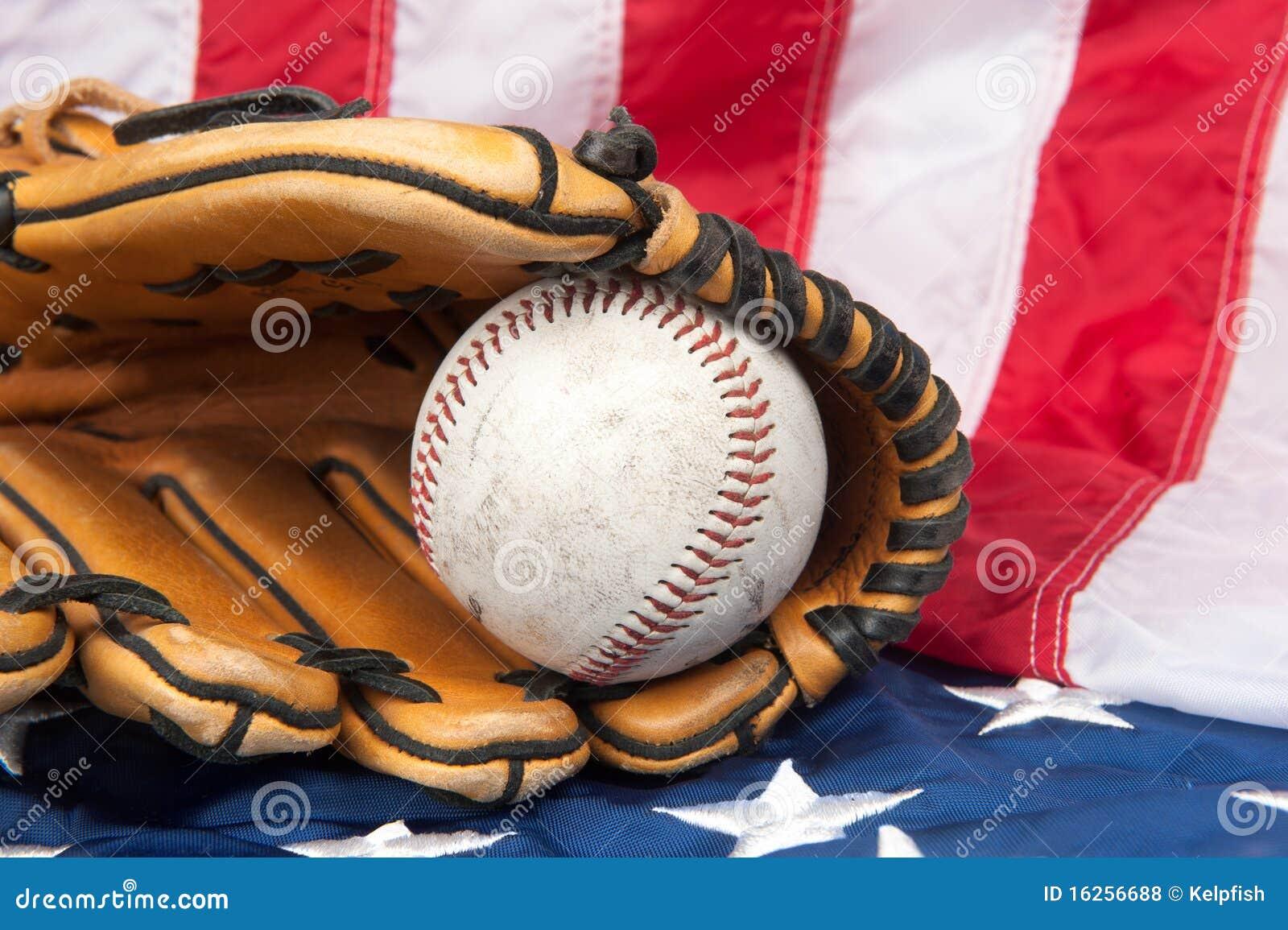 Baseball And Glove On American Flag Stock Photo Image