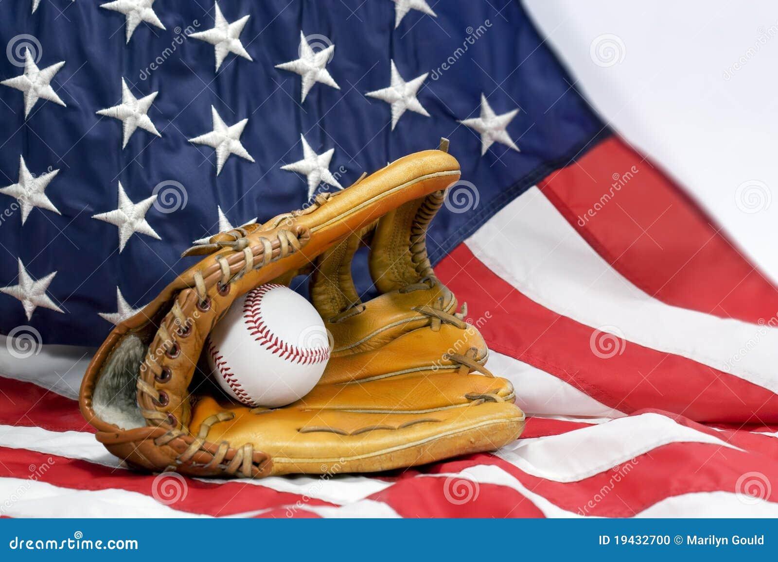 Baseball Glove, Ball & USA Flag