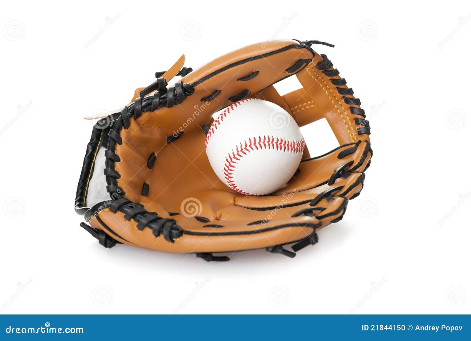 baseball glove with ball on white stock photo image