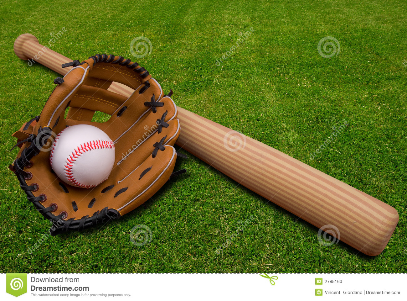 Baseball glove,bat and ball on