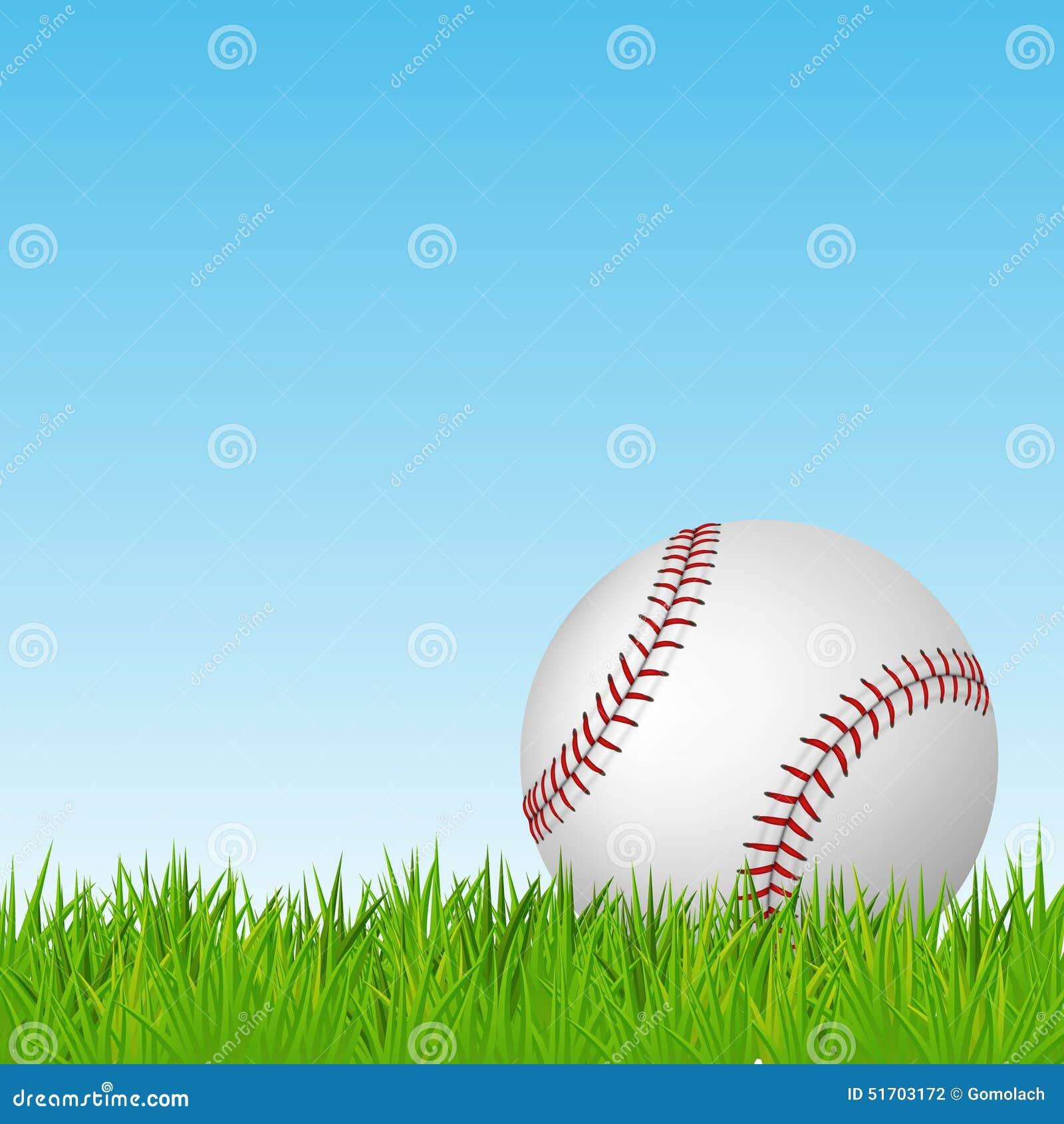 baseball on green grass vector background stock vector
