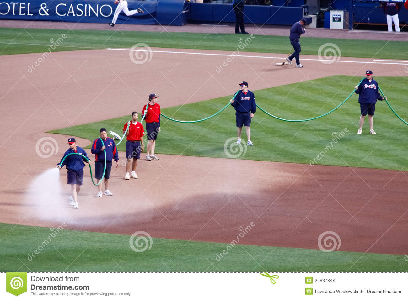 Baseball - Grounds Crew Watering The Field Editorial Stock