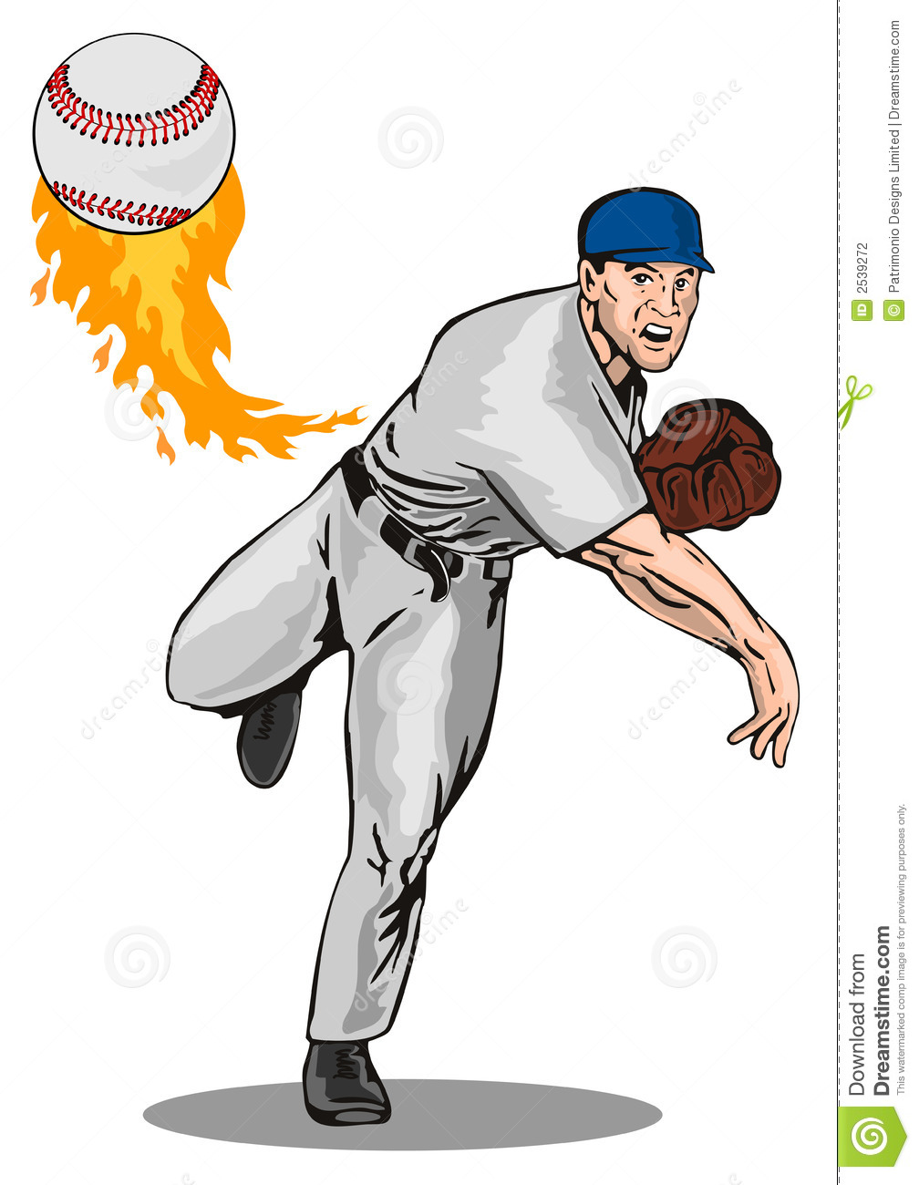 Vector art of a baseball pitcher delivering a strike.