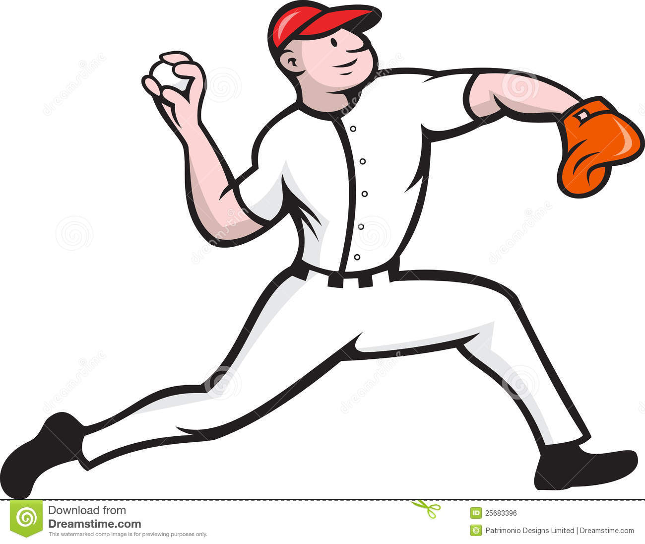 Cartoon illustration of a baseball player pitcher pitching ball facing ...