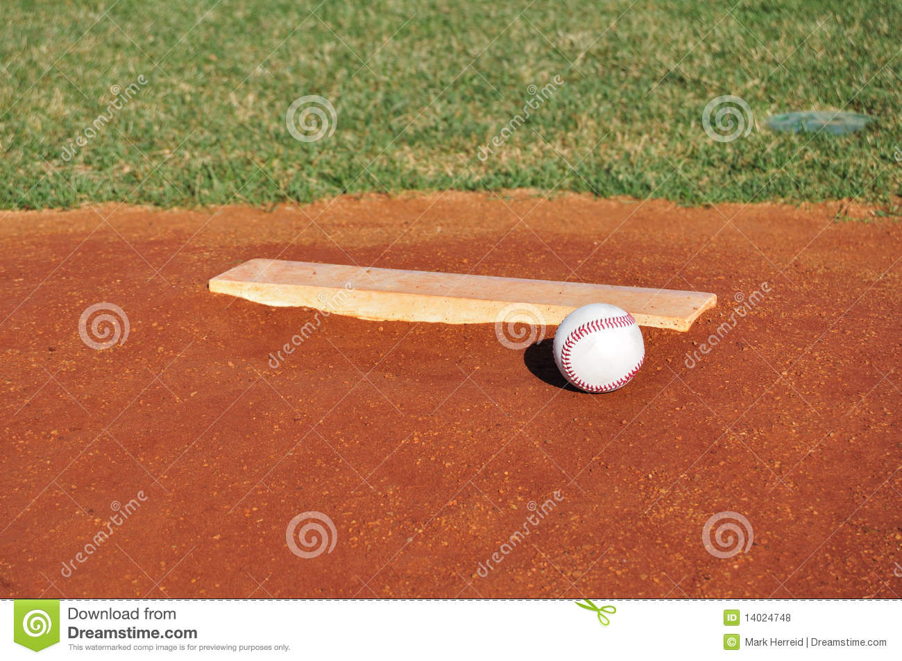 Baseball On The Pitcher S Mound Stock Photo Image Of