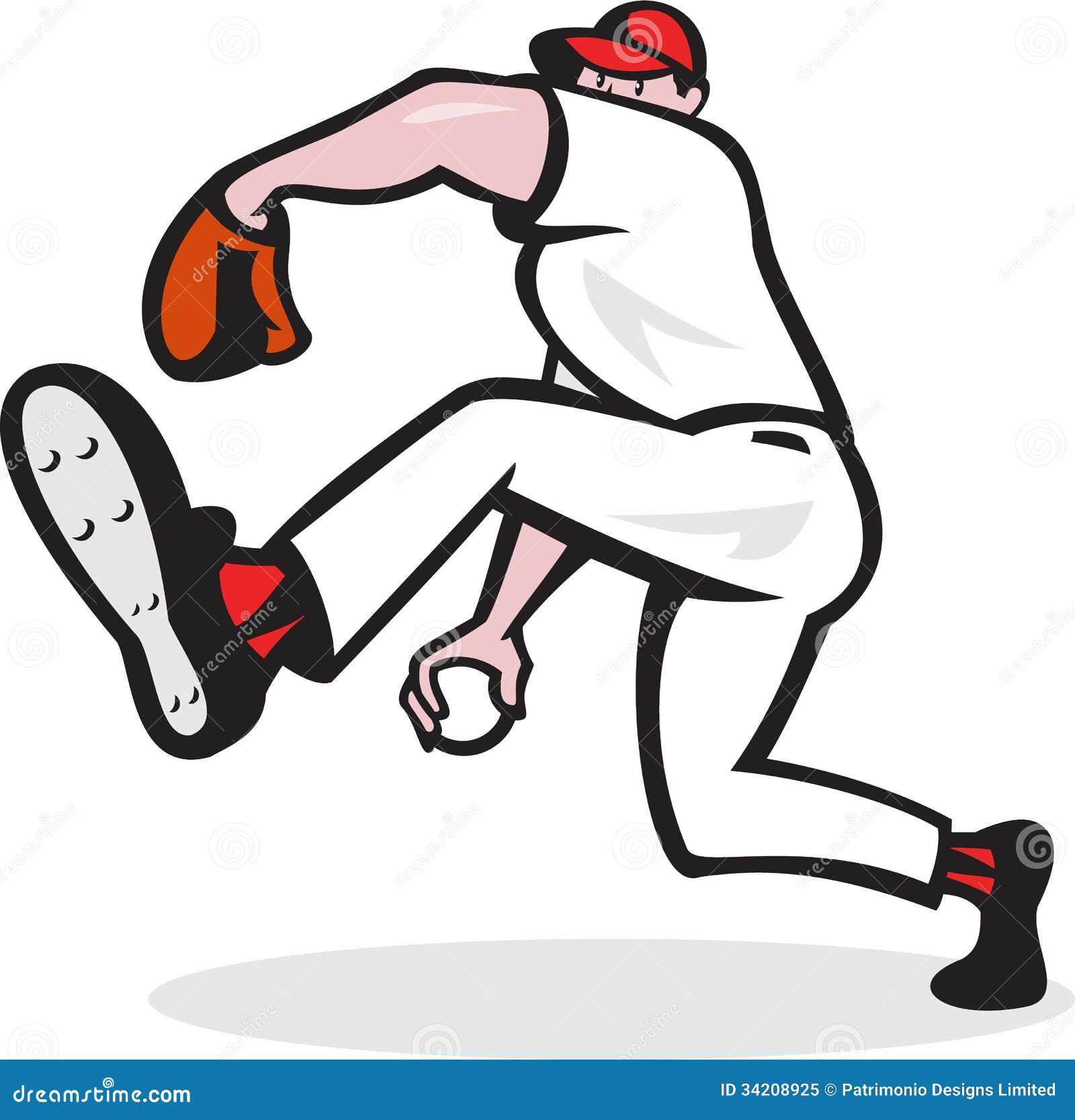 Baseball Pitcher Throwing Ball Cartoon Stock Vector ...