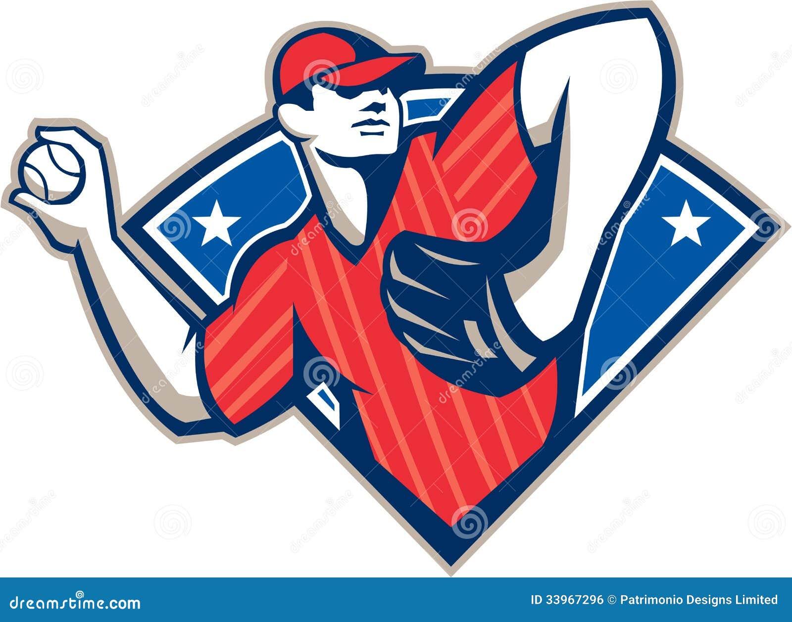 Baseball Pitcher Throwing Ball Retro Stock Vector - Image ...
