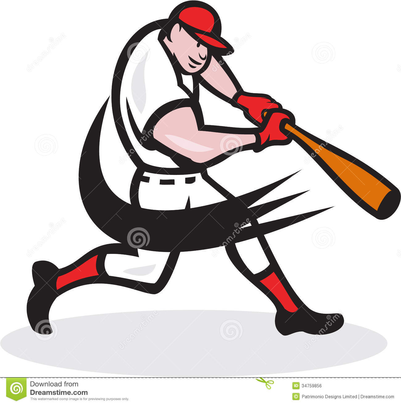 Illustration of a american baseball player batter hitter batting with ...