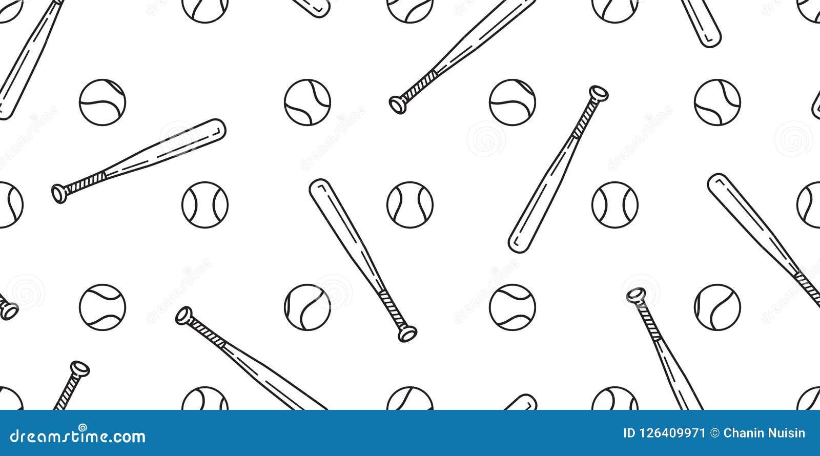 58bb7ca0672 Baseball Seamless pattern vector softball baseball bat scarf isolated tile background  wallpaper white. More similar stock illustrations