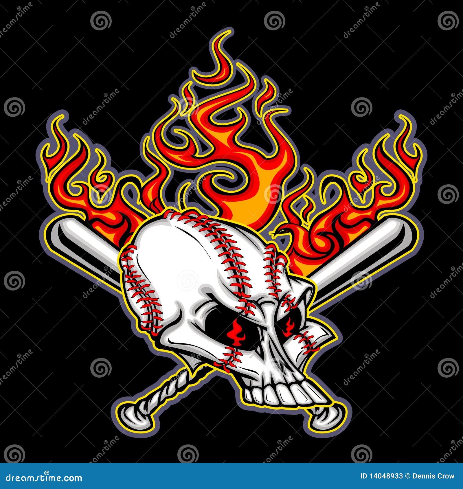 Baseball Skull with Flaming Bats Vector