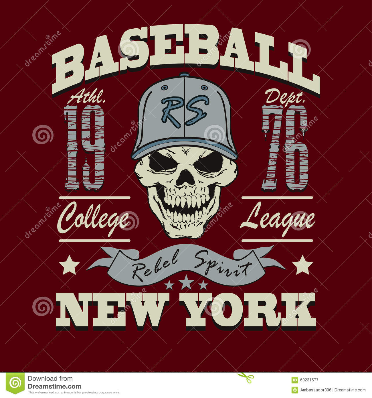 Design t shirt baseball - Baseball College Design Graphic Illustration Shirt