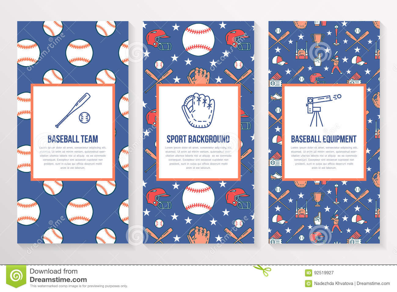 baseball softball sport game brochure template flyer vector trifold colored blue background - Softball Brochure Templates