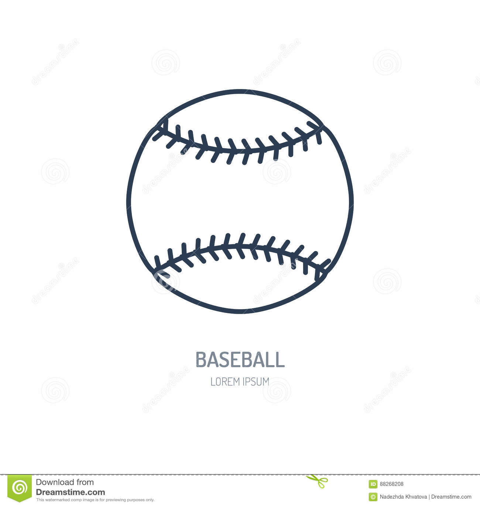 Baseball, softballa wektoru linii ikona Balowy logo, wyposażenie znak Sport rywalizaci ilustracja
