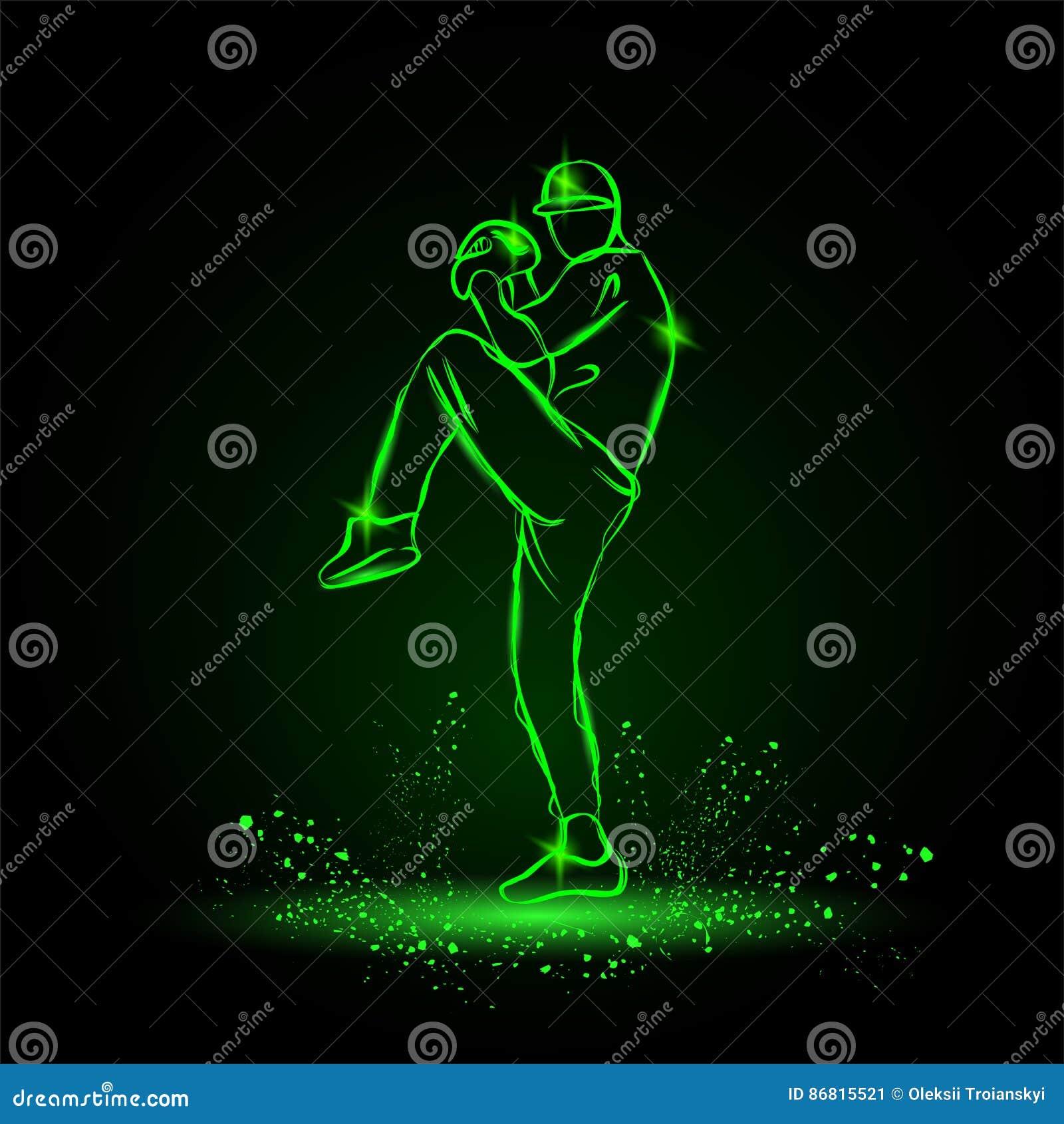 Baseball-Spieler-Werfer mit dem Bein, das oben fertig wird, Ball zu werfen sechs Ikonen platziert auf einen schwarzen Hintergrund