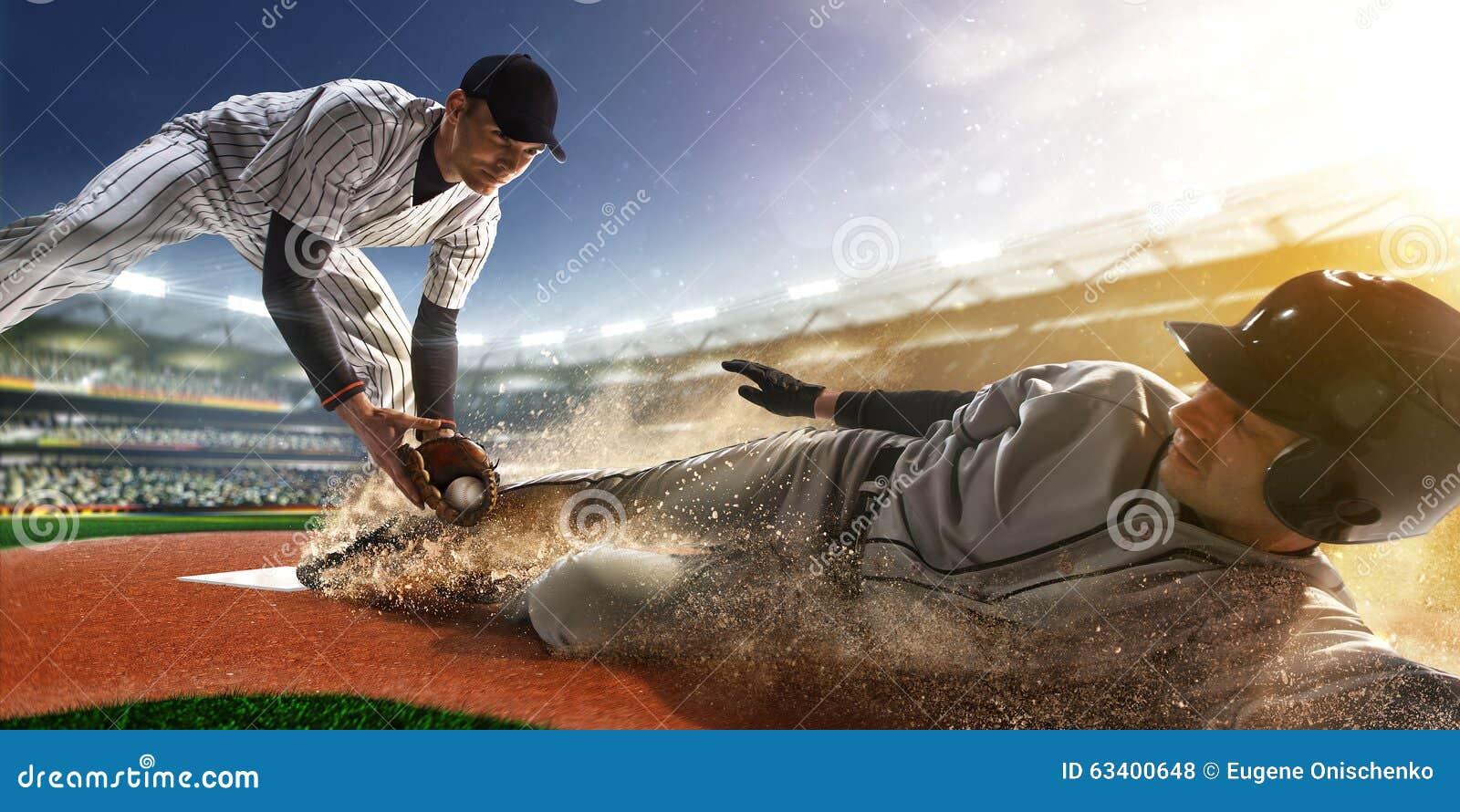Baseball-Spieler zwei in der Aktion
