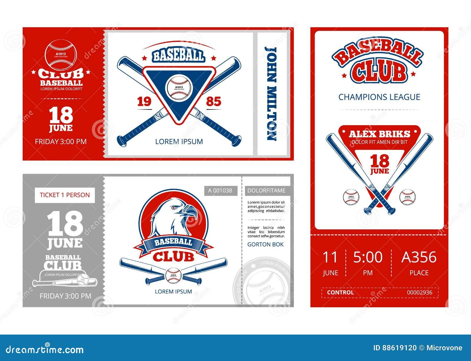 Baseball Sports Ticket Vector Design With Vintage Baseball Team ...