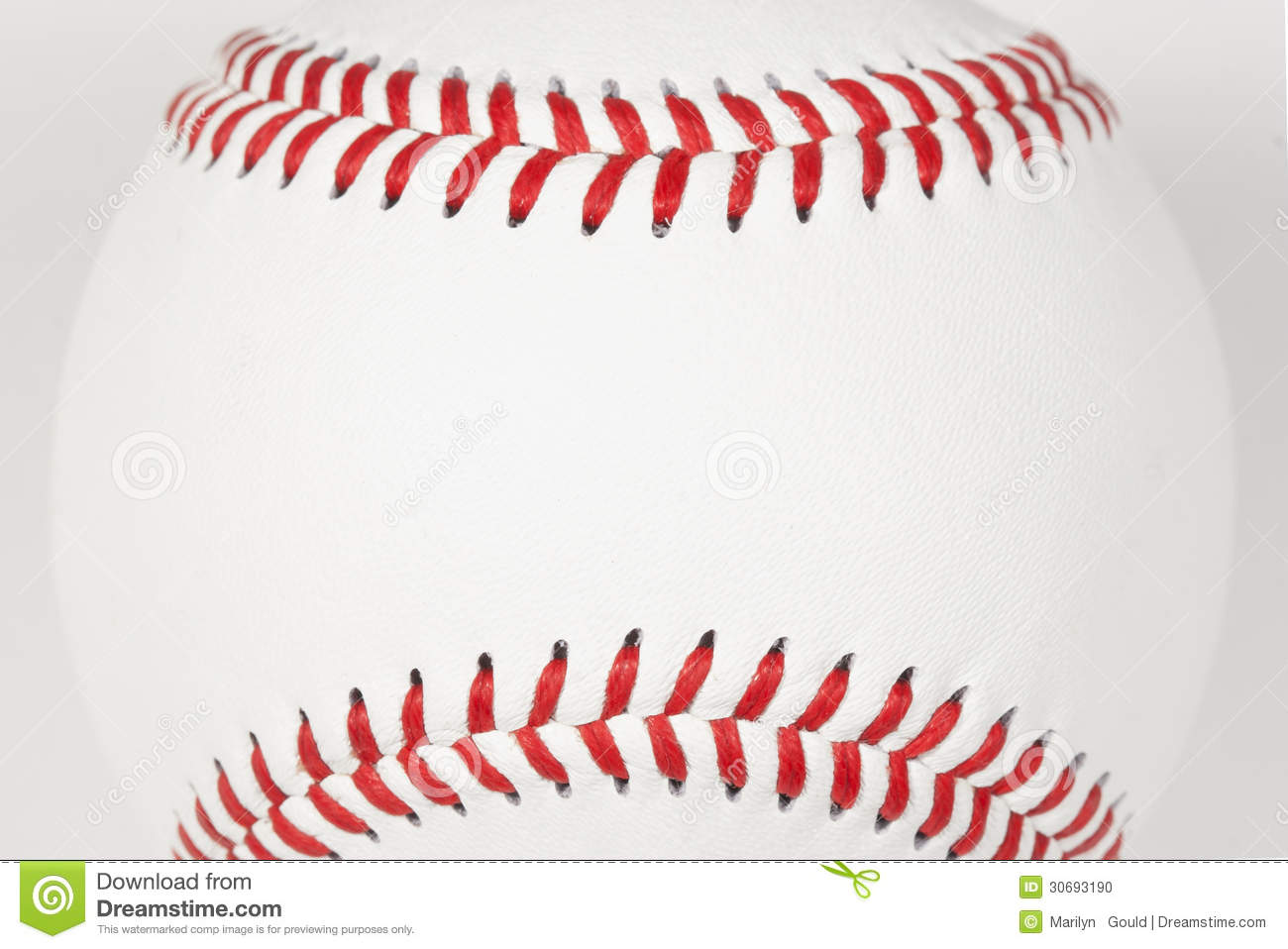 b2f3b9647705 The top and bottom red stitching of a baseball framing area for copy on  white leather baseball surface