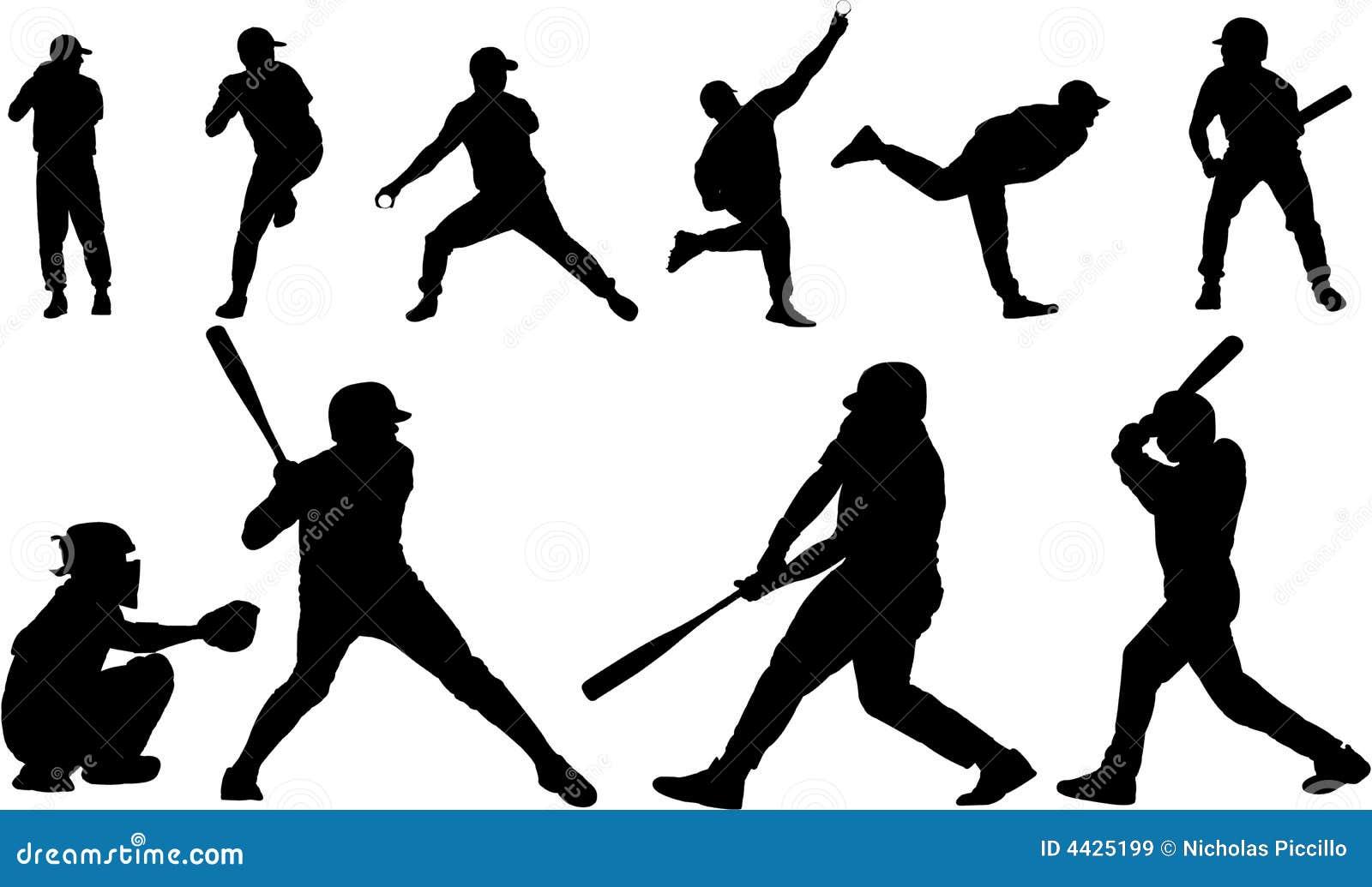 Baseball sylwetki wektorowe
