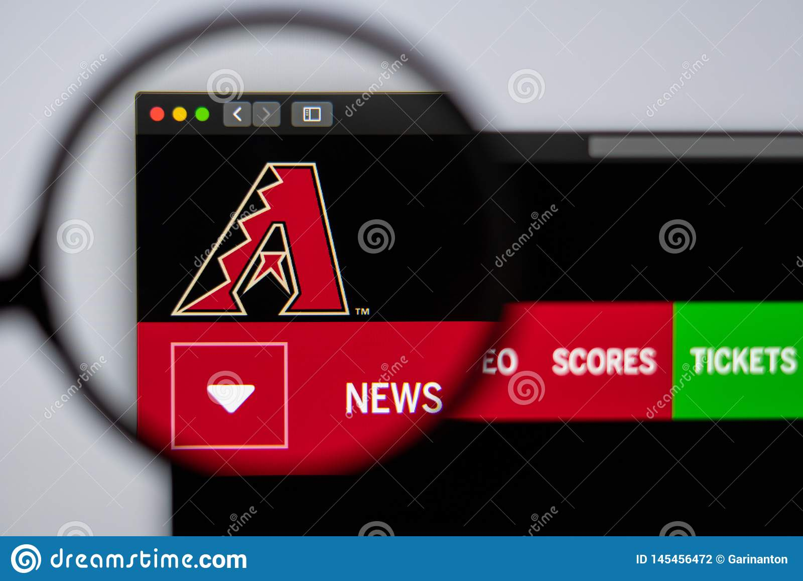 Baseball team Arizona Diamondbacks website homepage. Close up of team logo.