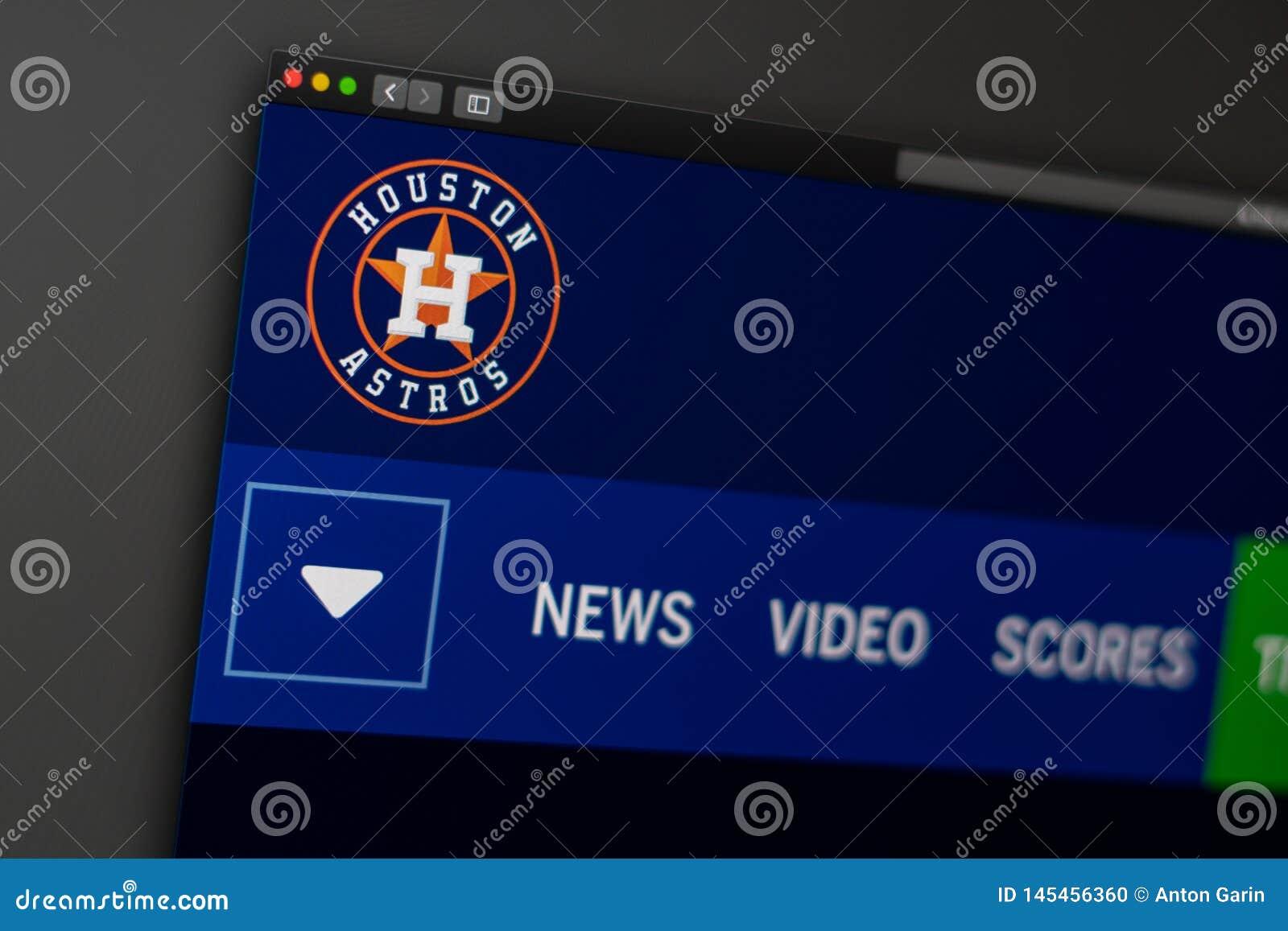 Baseball team Houston Astros website homepage. Close up of team logo.