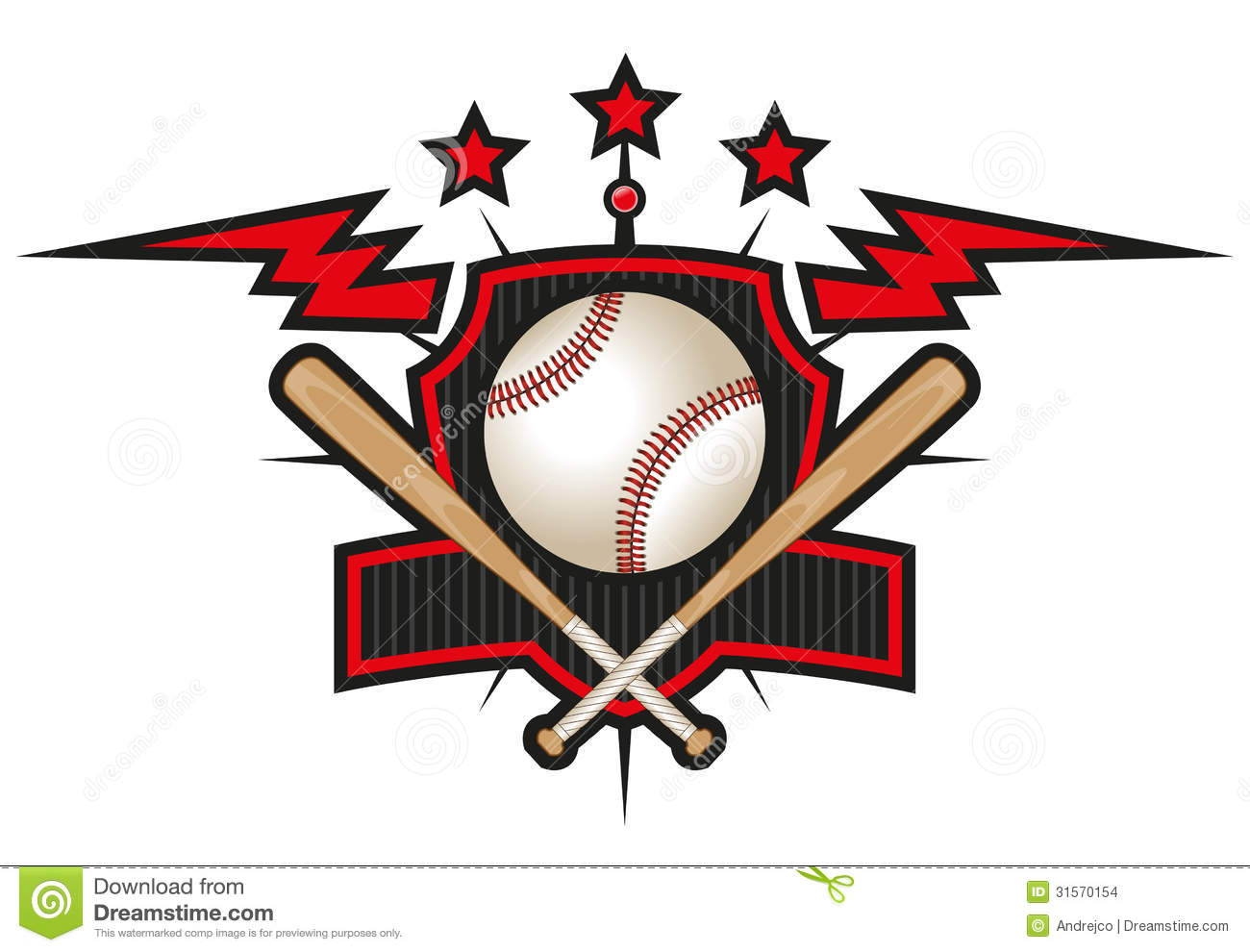 Baseball team logo isolated on white. Changeable color combinations.