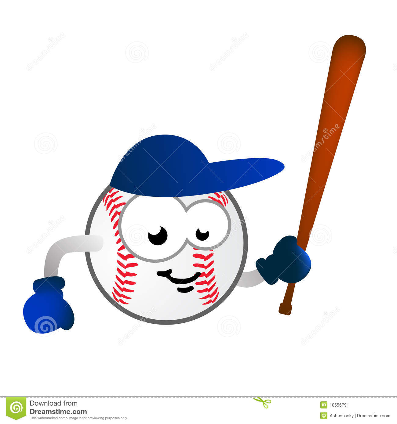illustration of humor cartoon character as baseball ball with bat ...