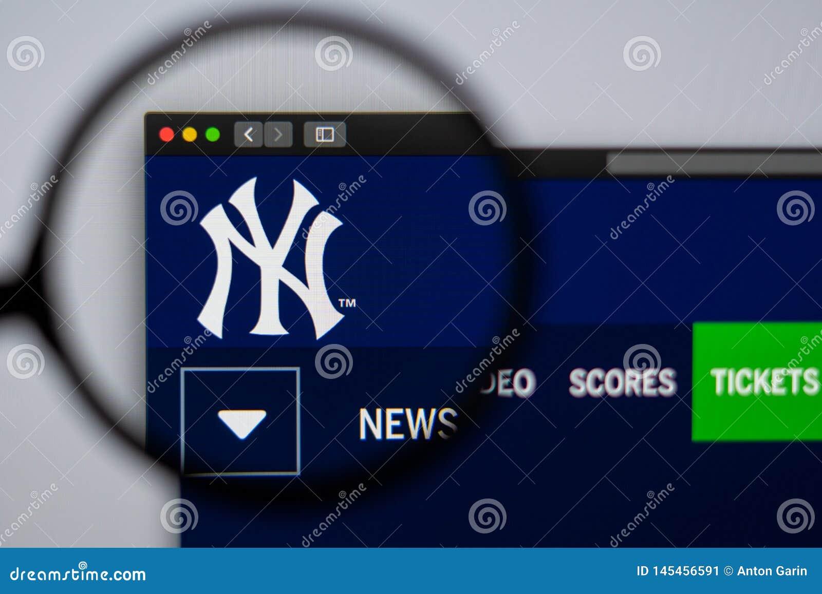 Baseball team New York Yankees website homepage. Close up of team logo.