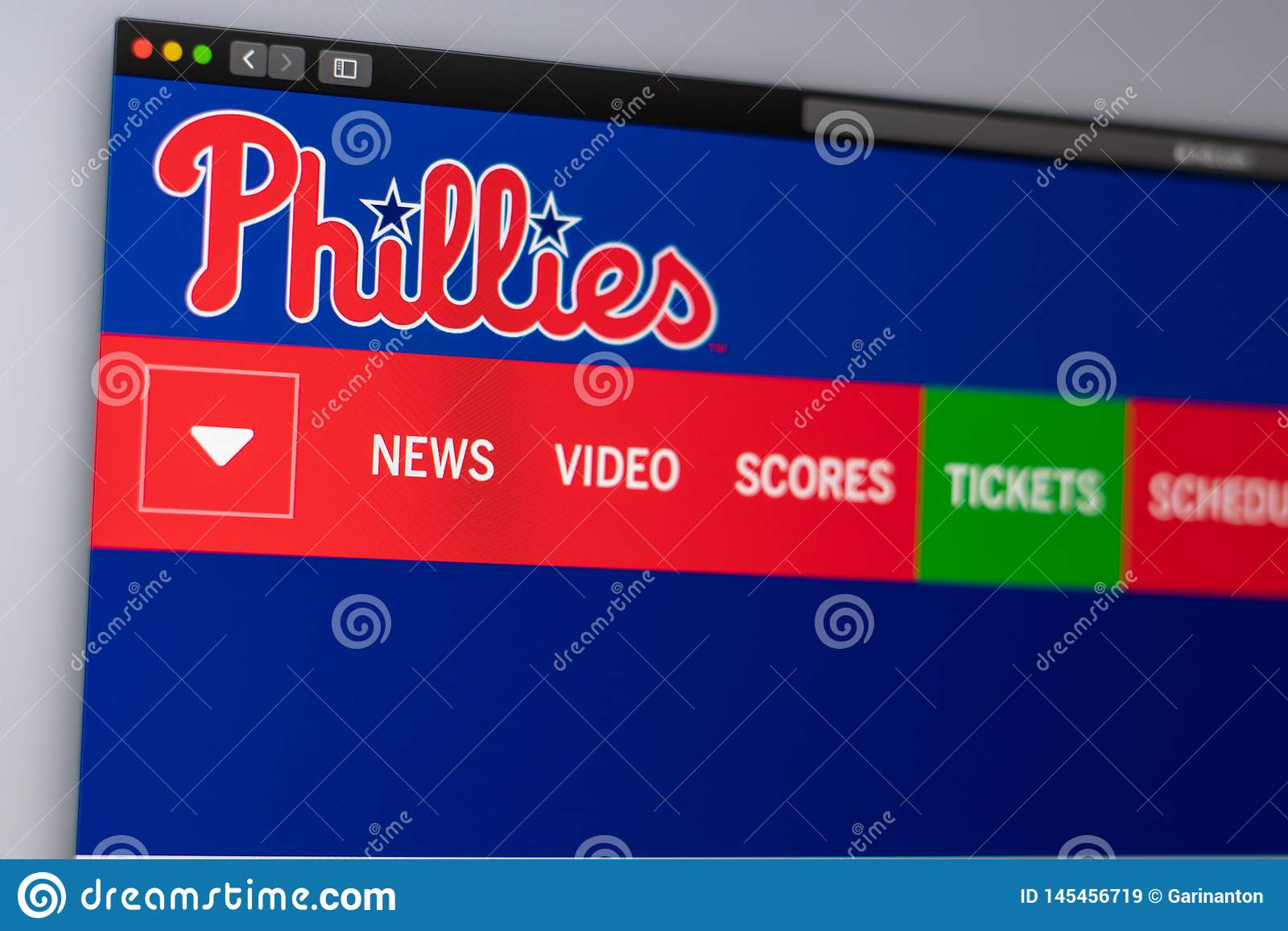 Baseball team Philadelphia Phillies website homepage. Close up of team logo.