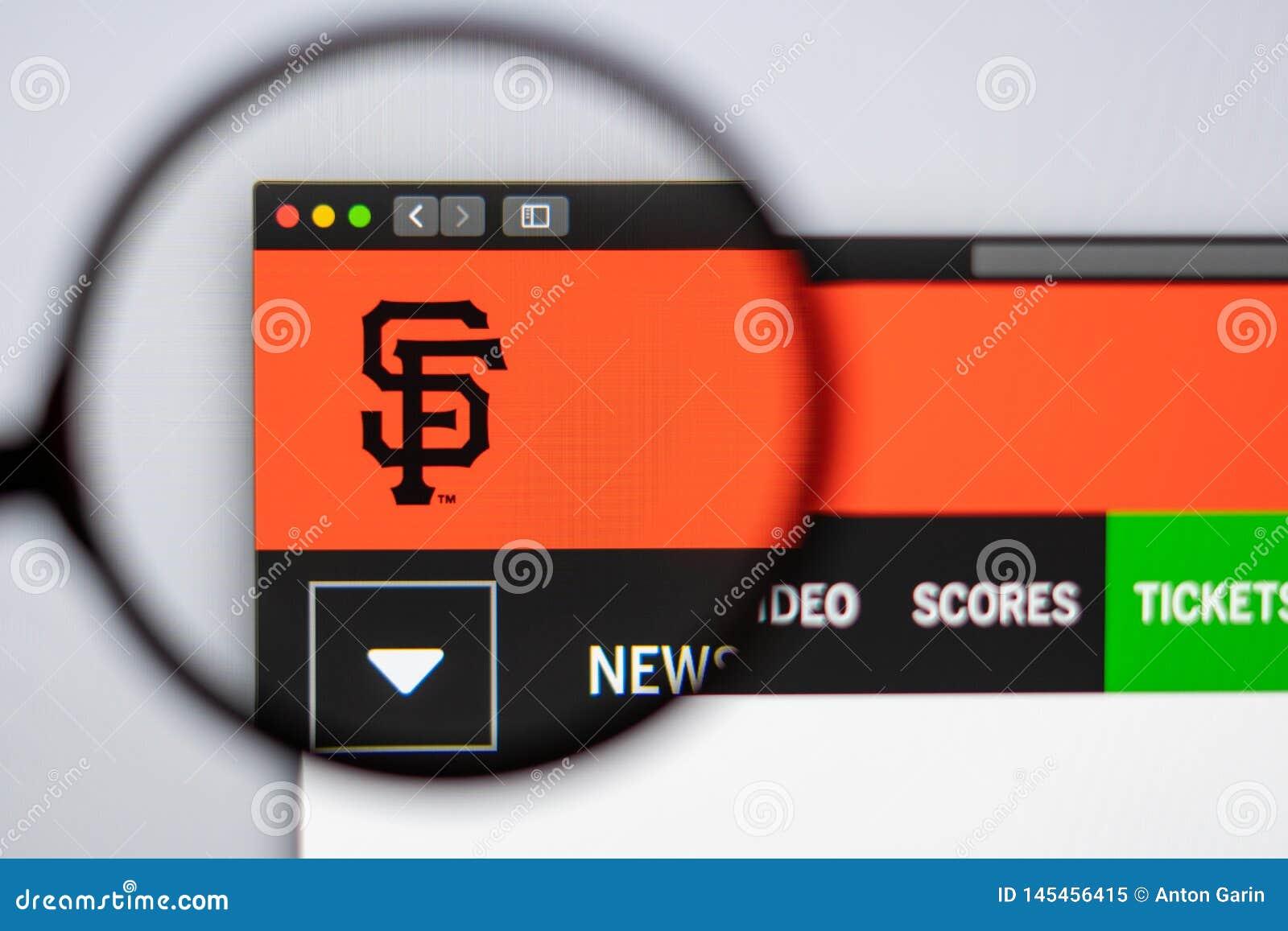 Baseball team San Francisco Giants website homepage. Close up of team logo.